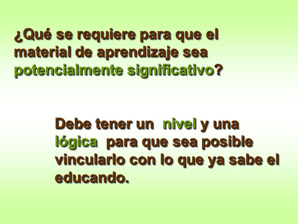 ¿Qué se requiere para que el material de aprendizaje sea potencialmente significativo? Debe tener un nivel y una lógica para que sea posible vincularl