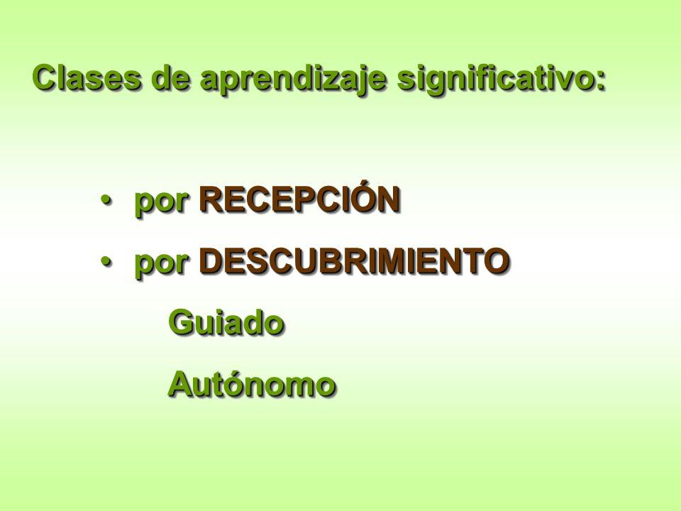 Clases de aprendizaje significativo: por RECEPCIÓNpor RECEPCIÓN por DESCUBRIMIENTOpor DESCUBRIMIENTOGuiadoAutónomo Clases de aprendizaje significativo