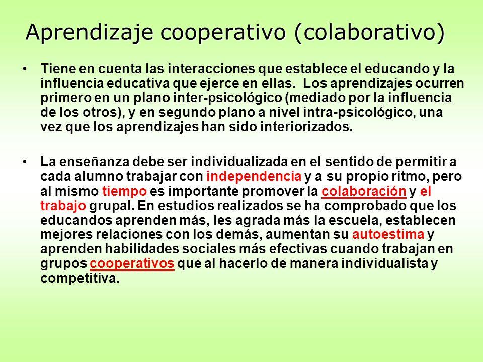 Aprendizaje cooperativo (colaborativo) Tiene en cuenta las interacciones que establece el educando y la influencia educativa que ejerce en ellas. Los