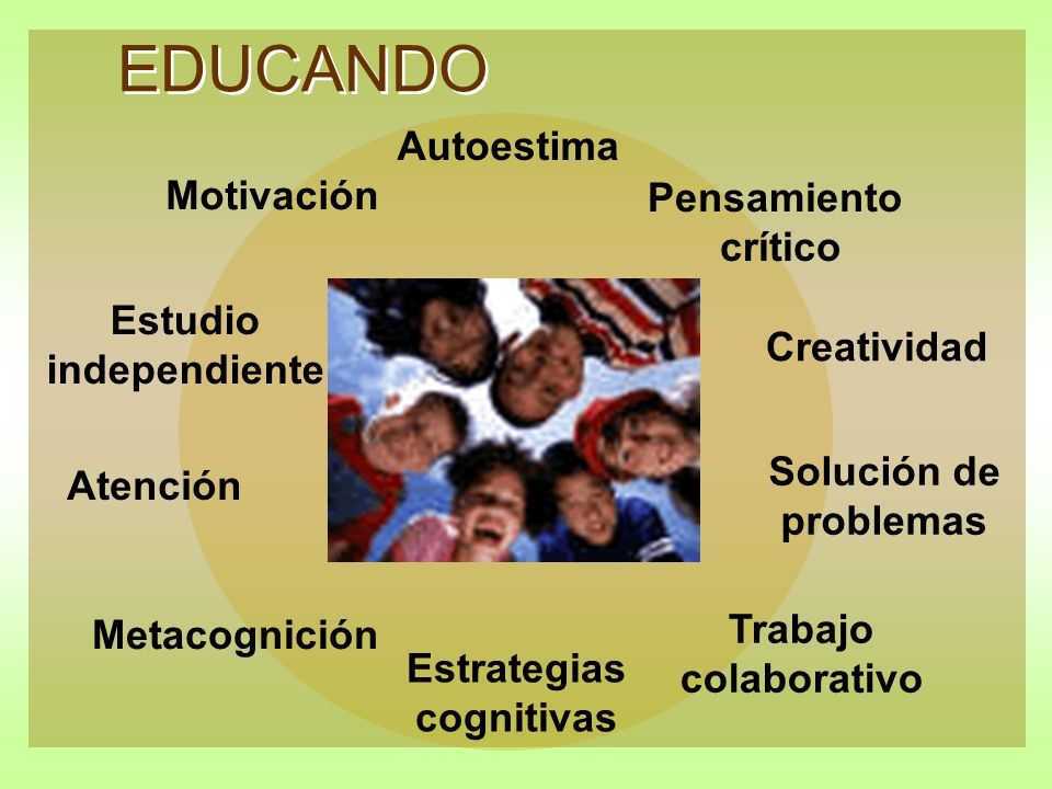 EDUCANDO Motivación Autoestima Estudio independiente Atención Metacognición Estrategias cognitivas Trabajo colaborativo Solución de problemas Creativi