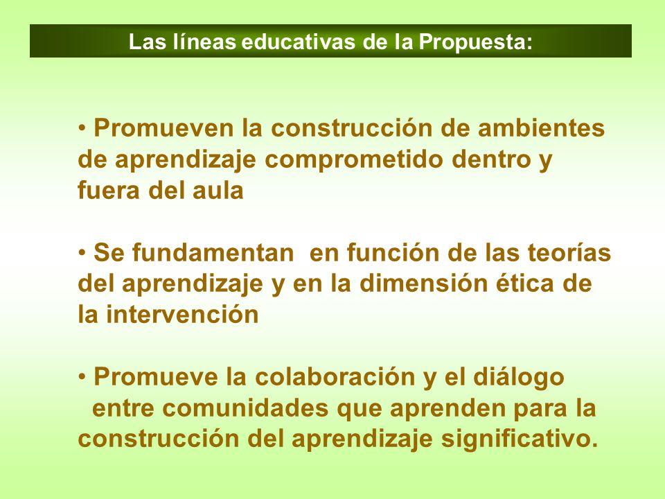 Promueven la construcción de ambientes de aprendizaje comprometido dentro y fuera del aula Se fundamentan en función de las teorías del aprendizaje y
