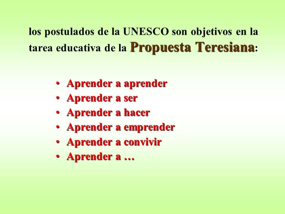 Propuesta Teresiana los postulados de la UNESCO son objetivos en la tarea educativa de la Propuesta Teresiana : Aprender a aprenderAprender a aprender