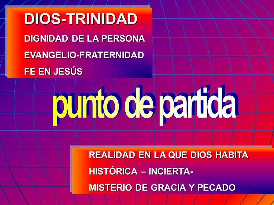 DIOS-TRINIDAD DIGNIDAD DE LA PERSONA EVANGELIO-FRATERNIDAD FE EN JESÚS REALIDAD EN LA QUE DIOS HABITA HISTÓRICA – INCIERTA- MISTERIO DE GRACIA Y PECAD