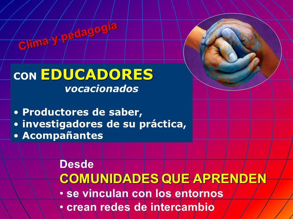 Clima y pedagogía EDUCADORES CON EDUCADORES vocacionados Productores de saber, investigadores de su práctica, Acompañantes Desde COMUNIDADES QUE APREN