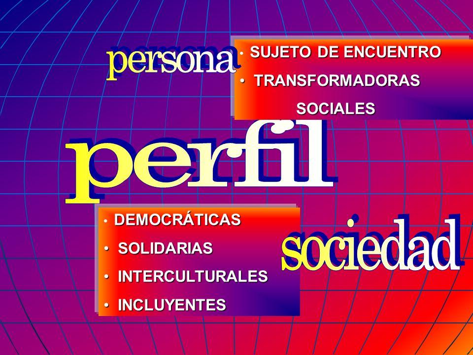 SUJETO DE ENCUENTRO TRANSFORMADORAS TRANSFORMADORAS SOCIALES SOCIALES DEMOCRÁTICAS SOLIDARIAS SOLIDARIAS INTERCULTURALES INTERCULTURALES INCLUYENTES I