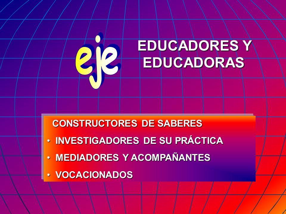 CONSTRUCTORES DE SABERES CONSTRUCTORES DE SABERES INVESTIGADORES DE SU PRÁCTICA INVESTIGADORES DE SU PRÁCTICA MEDIADORES Y ACOMPAÑANTES MEDIADORES Y A