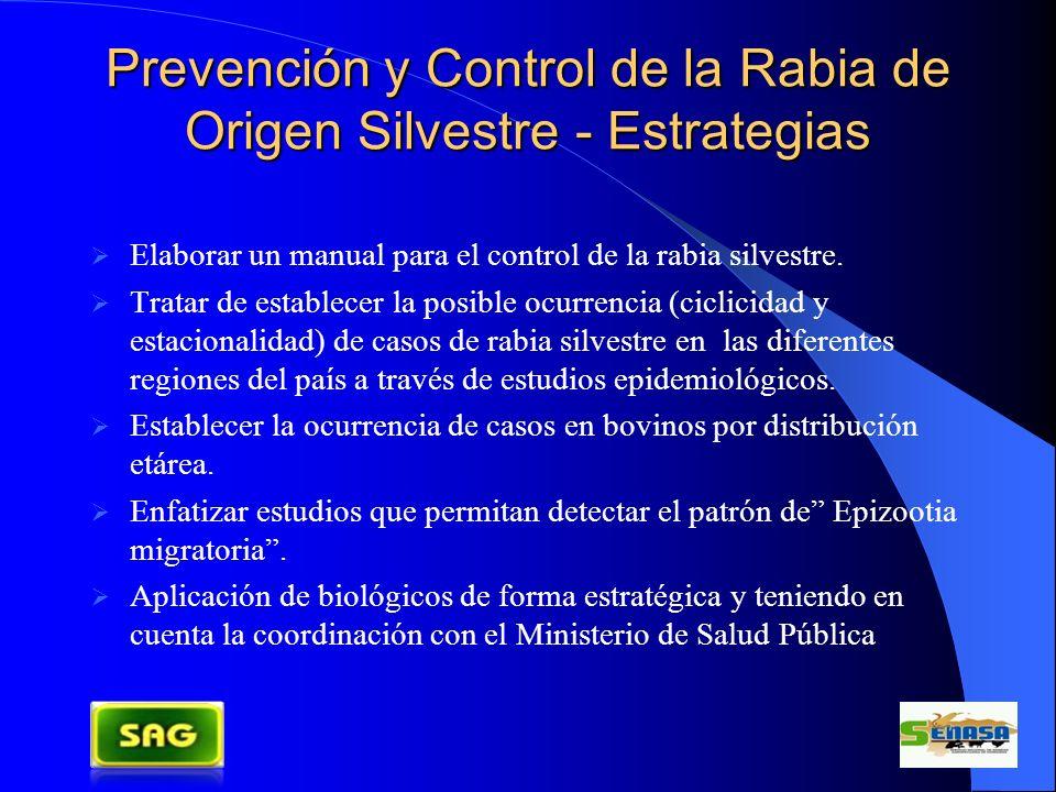 Prevención y Control de la Rabia de Origen Silvestre - Estrategias Elaborar un manual para el control de la rabia silvestre. Tratar de establecer la p