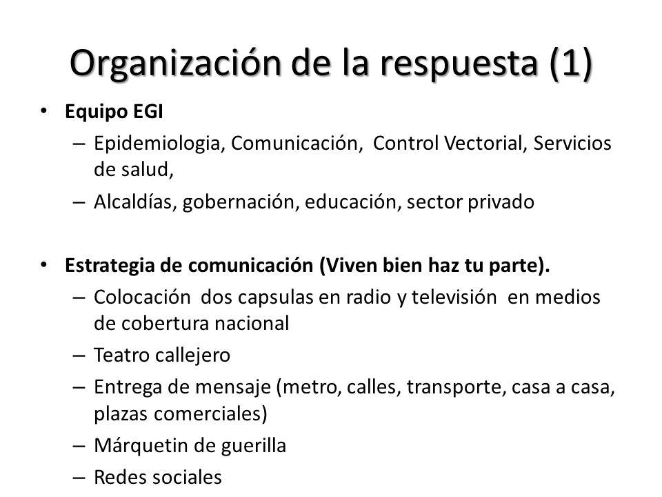 Organización de la respuesta (1) Equipo EGI – Epidemiologia, Comunicación, Control Vectorial, Servicios de salud, – Alcaldías, gobernación, educación,