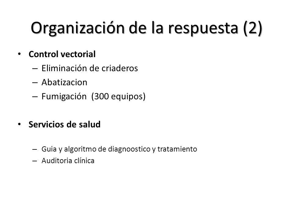 Organización de la respuesta (2) Control vectorial – Eliminación de criaderos – Abatizacion – Fumigación (300 equipos) Servicios de salud – Guia y alg