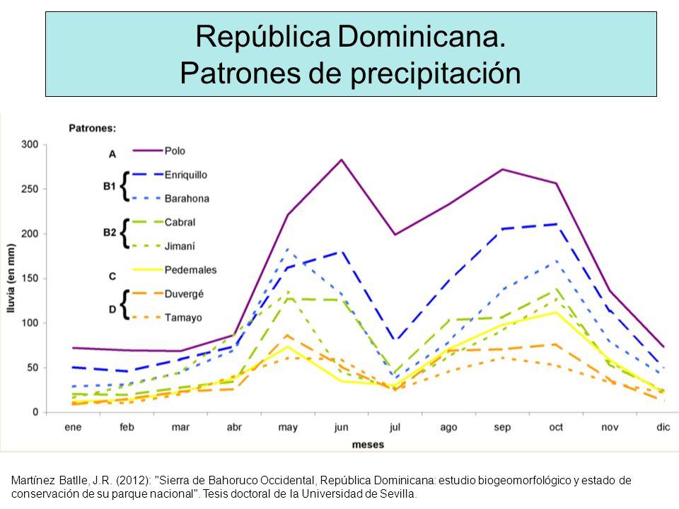República Dominicana. Patrones de precipitación Martínez Batlle, J.R. (2012):