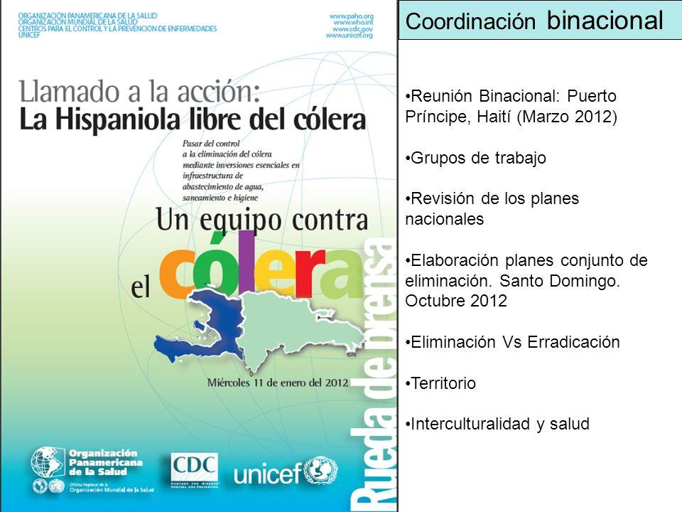 Reunión Binacional: Puerto Príncipe, Haití (Marzo 2012) Grupos de trabajo Revisión de los planes nacionales Elaboración planes conjunto de eliminación