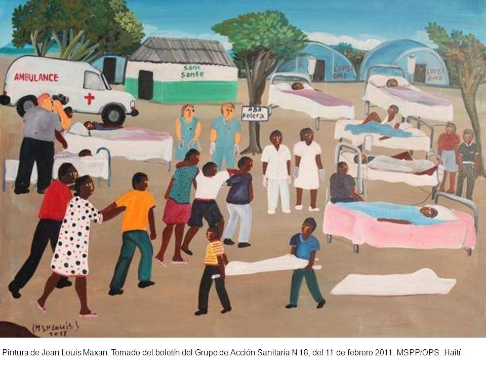 Pintura de Jean Louis Maxan. Tomado del boletín del Grupo de Acción Sanitaria N 18, del 11 de febrero 2011. MSPP/OPS. Haití.