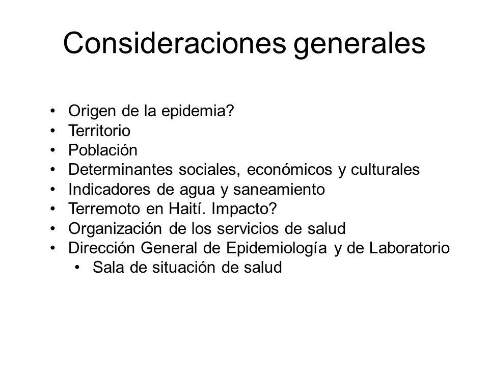 Consideraciones generales Origen de la epidemia? Territorio Población Determinantes sociales, económicos y culturales Indicadores de agua y saneamient