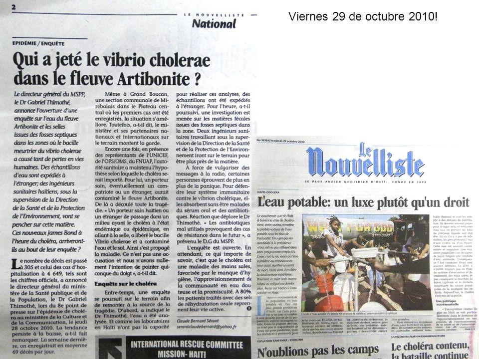 Haití: Resumen de la situación de cólera Del 20 octubre 2010 al 4 octubre 2012 Salle de Situation de Sante.