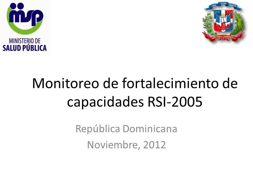 Monitoreo de fortalecimiento de capacidades RSI-2005 República Dominicana Noviembre, 2012
