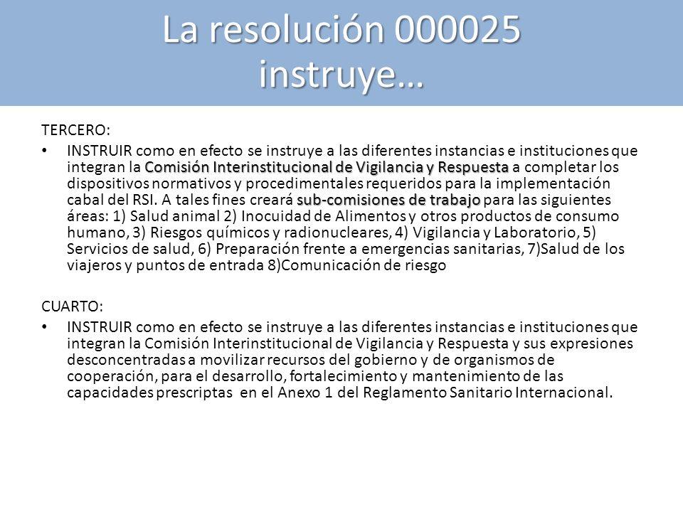 TERCERO: Comisión Interinstitucional de Vigilancia y Respuesta sub-comisiones de trabajo INSTRUIR como en efecto se instruye a las diferentes instanci