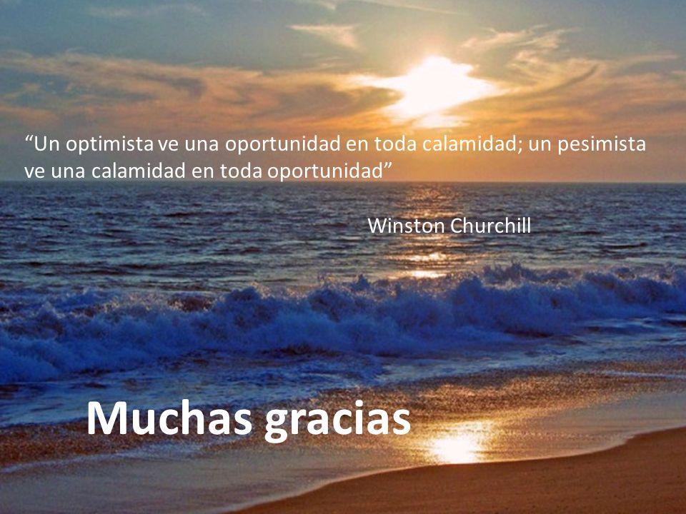 Muchas gracias Un optimista ve una oportunidad en toda calamidad; un pesimista ve una calamidad en toda oportunidad Winston Churchill