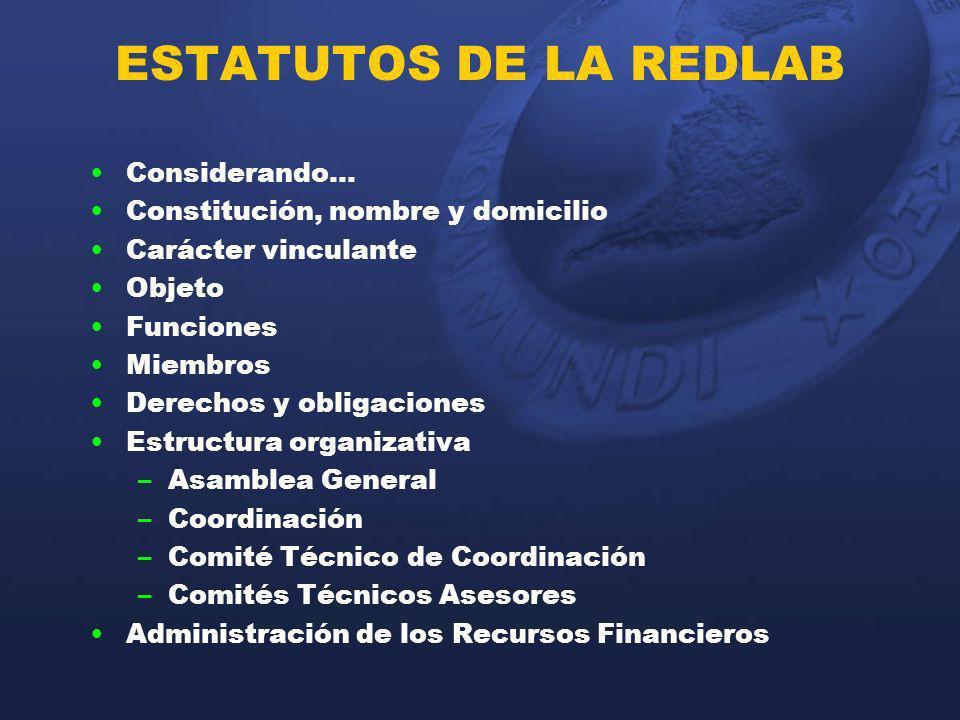 ESTATUTOS DE LA REDLAB Considerando… Constitución, nombre y domicilio Carácter vinculante Objeto Funciones Miembros Derechos y obligaciones Estructura
