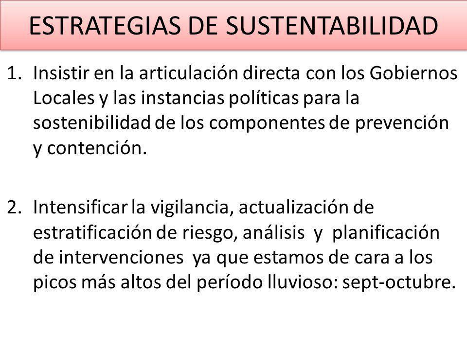 1.Insistir en la articulación directa con los Gobiernos Locales y las instancias políticas para la sostenibilidad de los componentes de prevención y contención.
