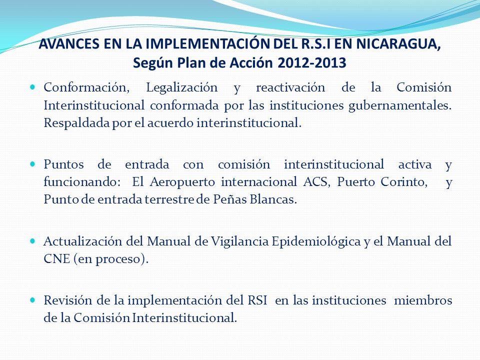 AVANCES EN LA IMPLEMENTACIÓN DEL R.S.I EN NICARAGUA, Según Plan de Acción 2012-2013 (cont.) Sistematización de la experiencia de la Pandemia Influenza 2009.