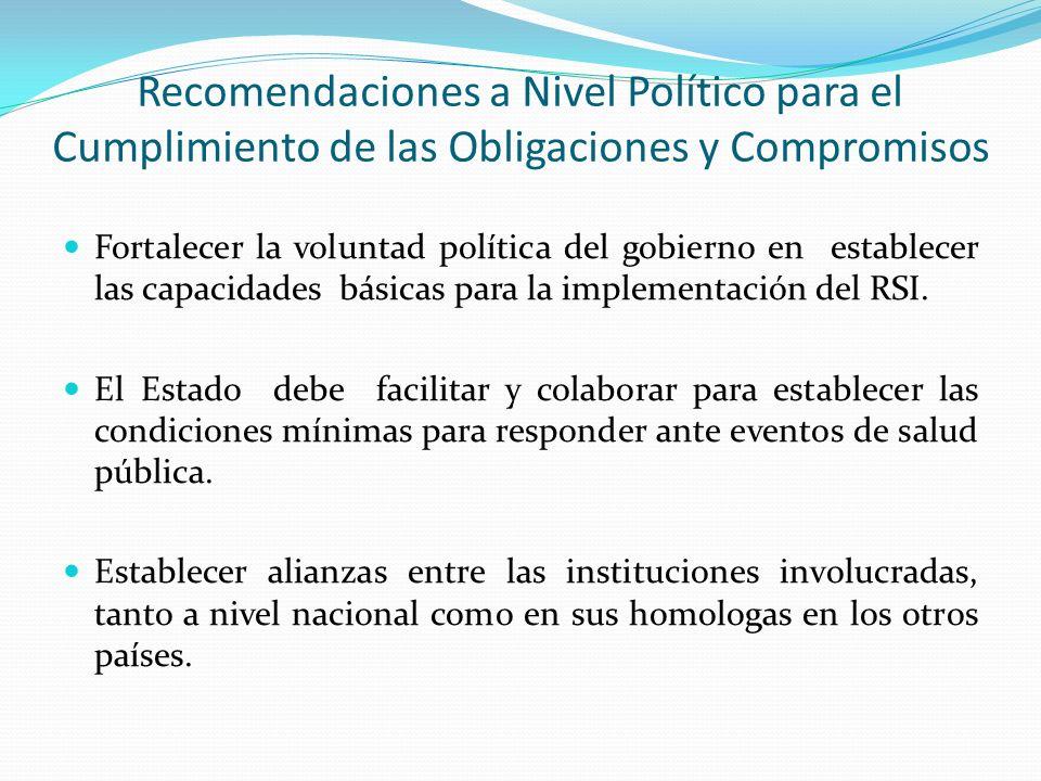 Recomendaciones a Nivel Político para el Cumplimiento de las Obligaciones y Compromisos Fortalecer la voluntad política del gobierno en establecer las capacidades básicas para la implementación del RSI.
