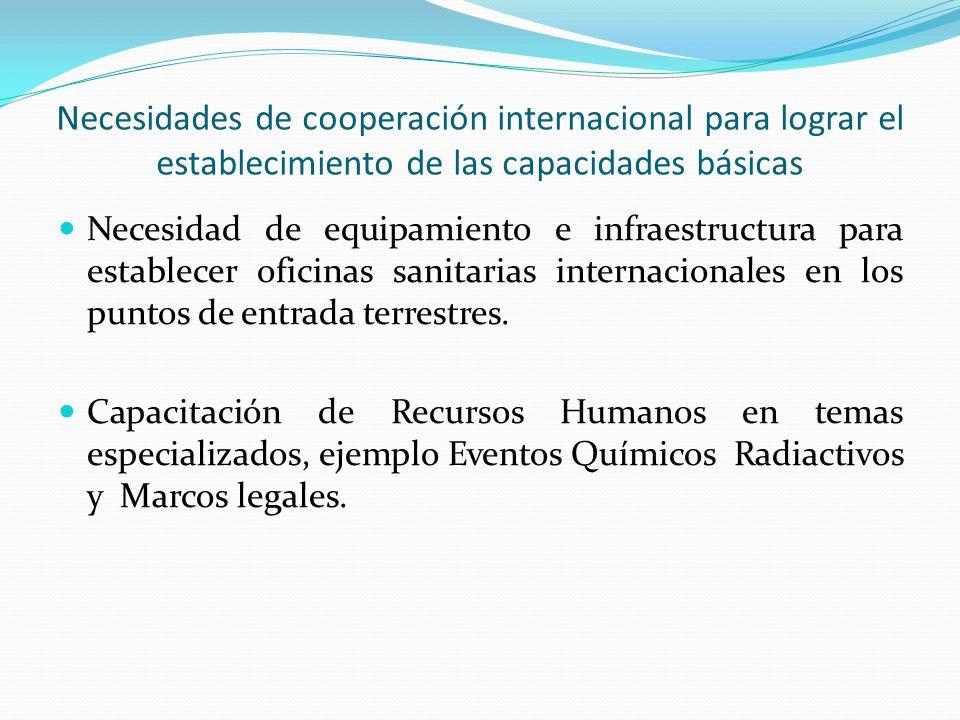Necesidades de cooperación internacional para lograr el establecimiento de las capacidades básicas Necesidad de equipamiento e infraestructura para establecer oficinas sanitarias internacionales en los puntos de entrada terrestres.