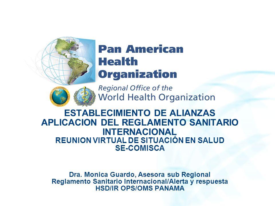 Reglamento Sanitario Internacional (2005): Áreas de trabajo para su aplicación: Alianzas Planteamiento estratégico Comprometer a todos los asociados a que apoyen activamente la aplicación de RSI (2005).