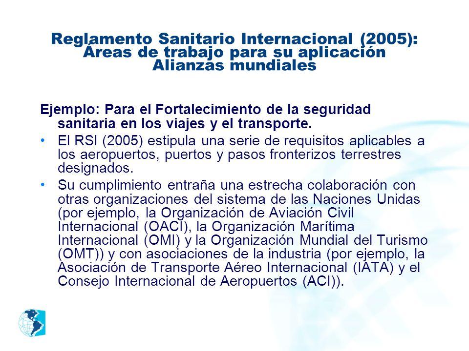 Reglamento Sanitario Internacional (2005): Áreas de trabajo para su aplicación Alianzas mundiales Ejemplo: Para el Fortalecimiento de la seguridad san