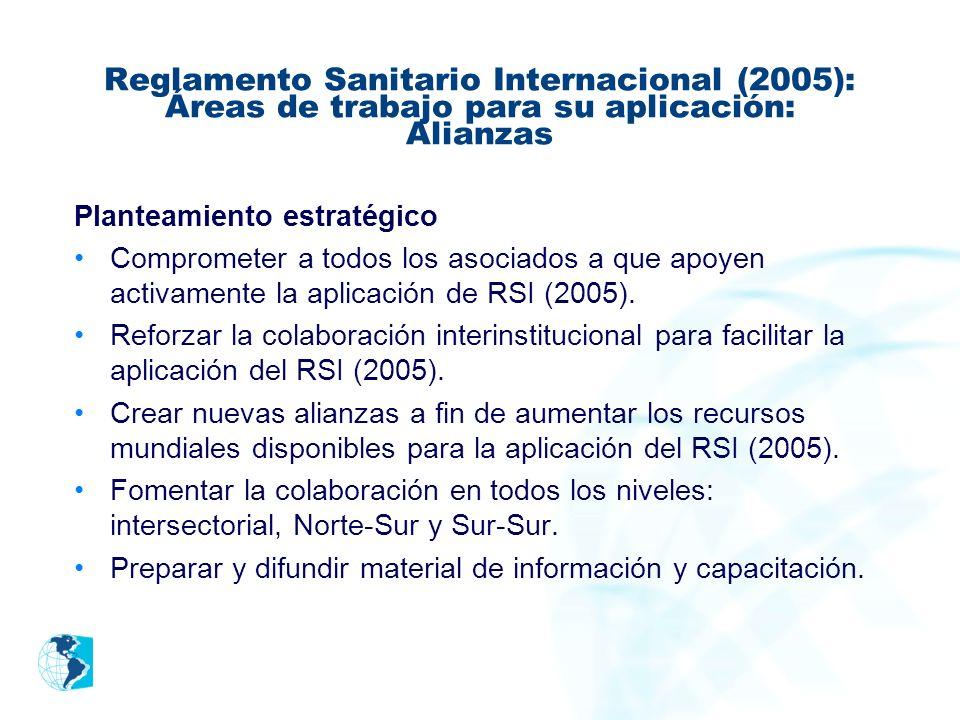 Reglamento Sanitario Internacional (2005): Áreas de trabajo para su aplicación: Alianzas Planteamiento estratégico Comprometer a todos los asociados a