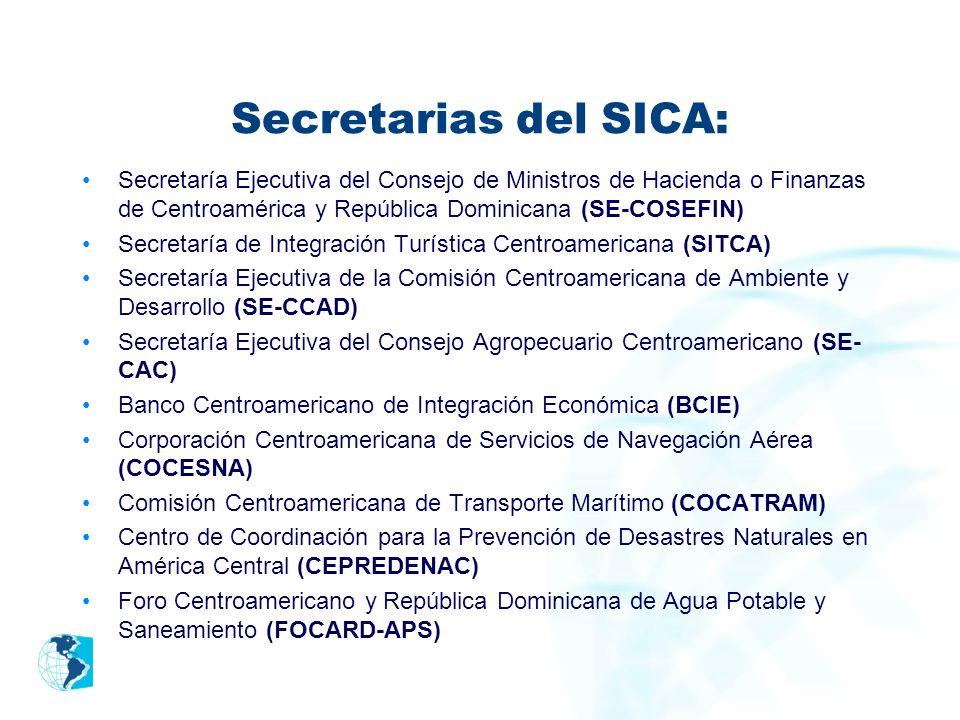 Secretarias del SICA: Secretaría Ejecutiva del Consejo de Ministros de Hacienda o Finanzas de Centroamérica y República Dominicana (SE-COSEFIN) Secret