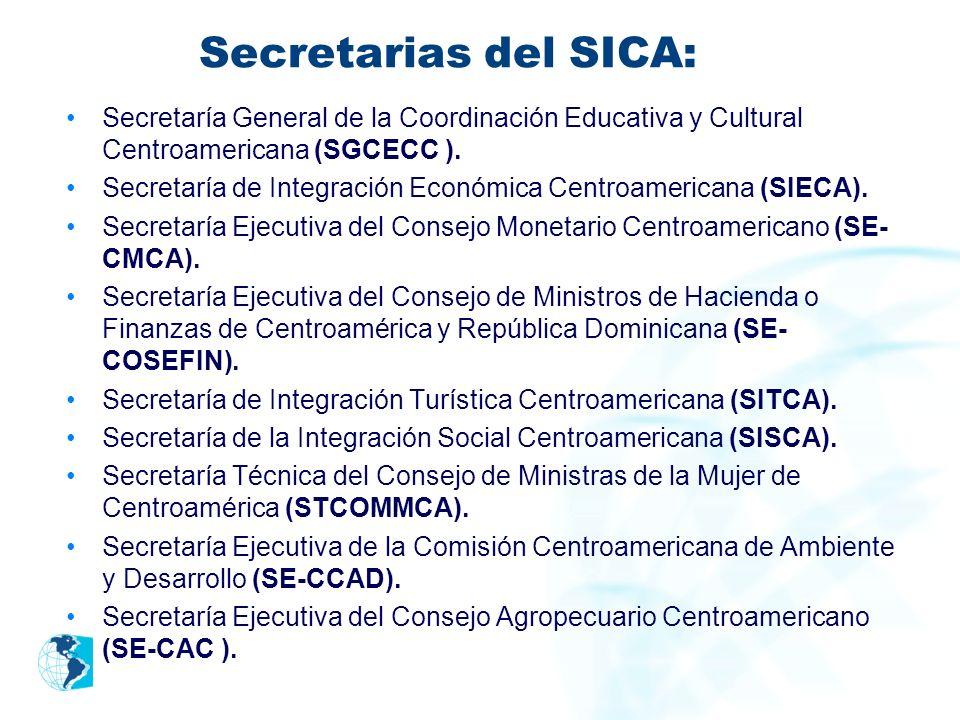 Secretarias del SICA: Secretaría General de la Coordinación Educativa y Cultural Centroamericana (SGCECC ). Secretaría de Integración Económica Centro