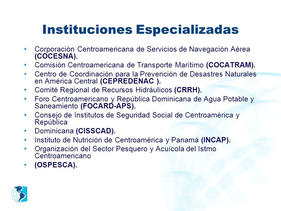Instituciones Especializadas Corporación Centroamericana de Servicios de Navegación Aérea (COCESNA). Comisión Centroamericana de Transporte Marítimo (