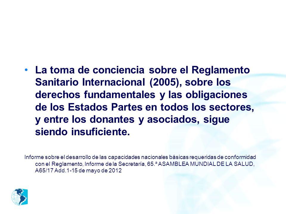 La toma de conciencia sobre el Reglamento Sanitario Internacional (2005), sobre los derechos fundamentales y las obligaciones de los Estados Partes en