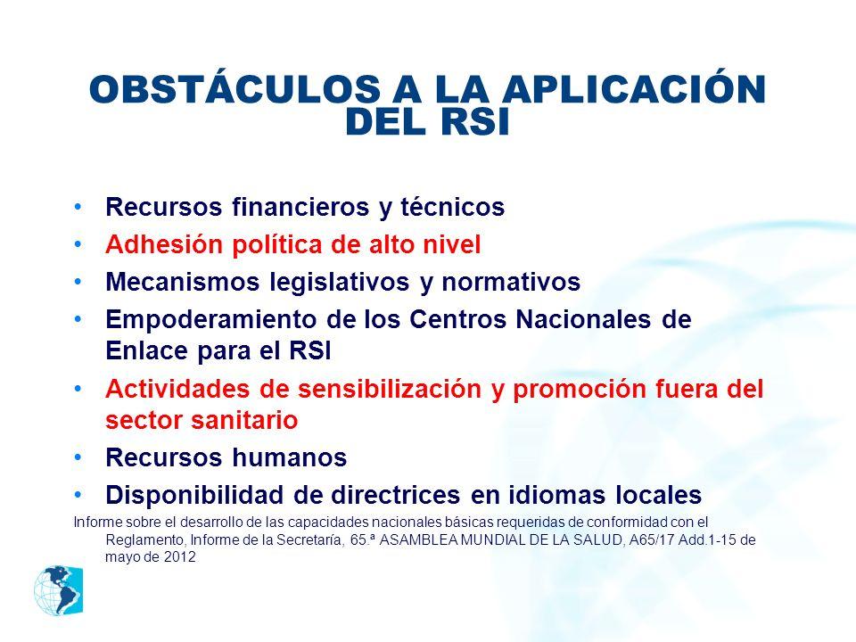 OBSTÁCULOS A LA APLICACIÓN DEL RSI Recursos financieros y técnicos Adhesión política de alto nivel Mecanismos legislativos y normativos Empoderamiento