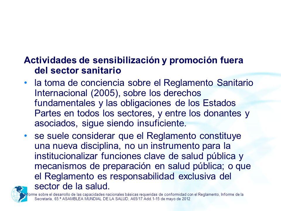 Actividades de sensibilización y promoción fuera del sector sanitario la toma de conciencia sobre el Reglamento Sanitario Internacional (2005), sobre
