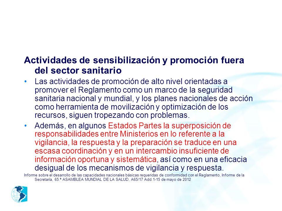 Actividades de sensibilización y promoción fuera del sector sanitario Las actividades de promoción de alto nivel orientadas a promover el Reglamento c