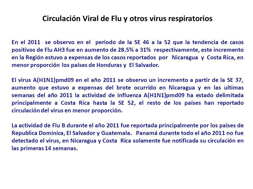 Circulación Viral de Flu y otros virus respiratorios En el 2011 se observo en el periodo de la SE 46 a la 52 que la tendencia de casos positivos de Fl
