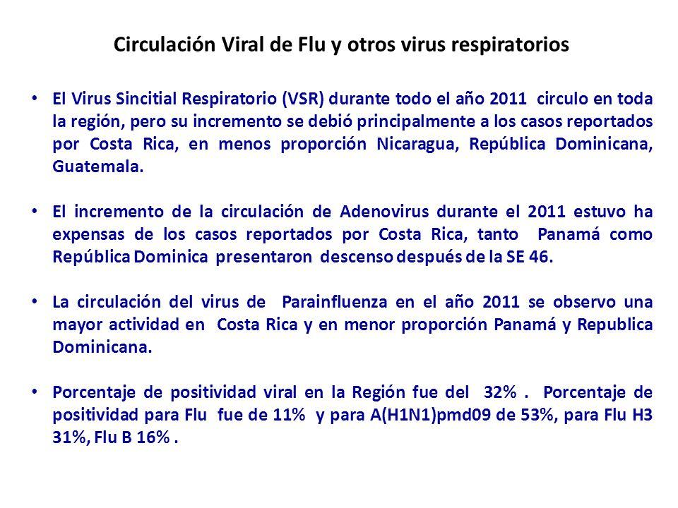 Circulación Viral de Flu y otros virus respiratorios SE 1 a la 7 - 2012 En el 2012 hasta la SE 7 el comportamiento de la circulación de los virus respiratorios en Centroamérica y República Dominicana ha presentado el siguiente comportamiento: Se han reportado un total 1,461 muestras procesadas para virus respiratorios en la Región: 365 (25%) resultaron positivas para algún virus respiratorio 110 (7.5%) positivas al virus de la influenza De todos los virus de influenza identificados : 84.5% (93 casos) corresponden a influenza A 14.5% (16 casos) a influenza B.