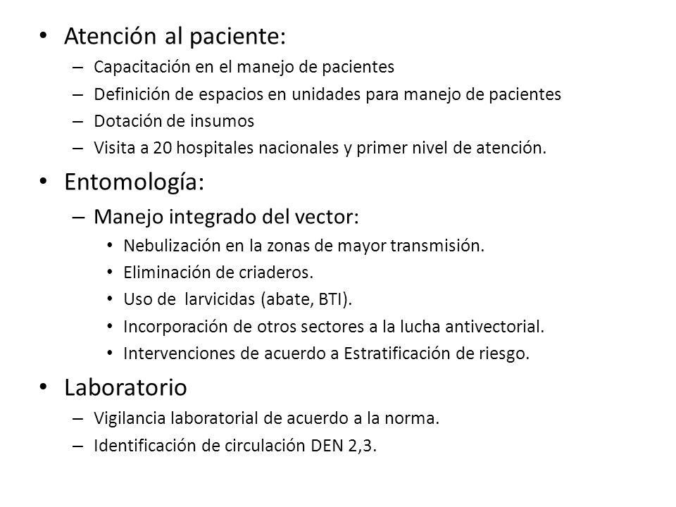 Atención al paciente: – Capacitación en el manejo de pacientes – Definición de espacios en unidades para manejo de pacientes – Dotación de insumos – V