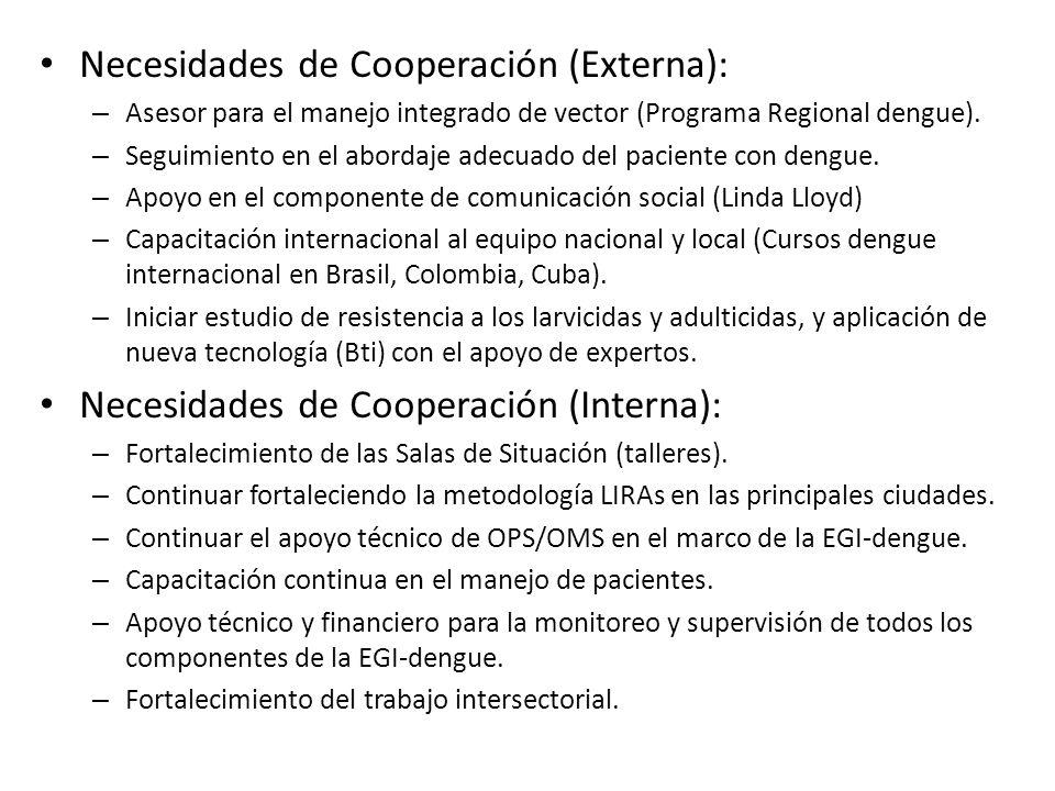 Necesidades de Cooperación (Externa): – Asesor para el manejo integrado de vector (Programa Regional dengue). – Seguimiento en el abordaje adecuado de