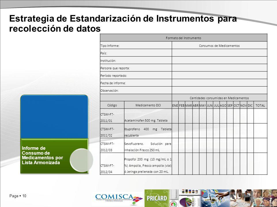 Page 10 Estrategia de Estandarización de Instrumentos para recolección de datos Informe de Consumo de Medicamentos por Lista Armonizada Formato del In