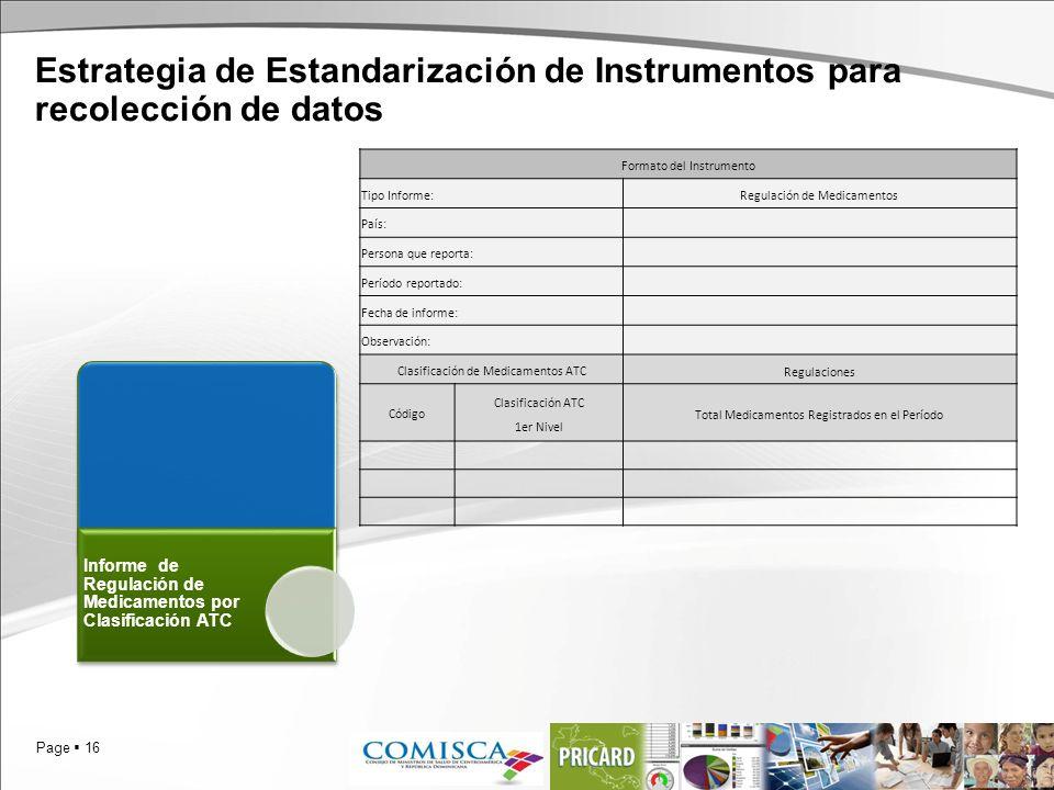 Page 16 Estrategia de Estandarización de Instrumentos para recolección de datos Informe de Regulación de Medicamentos por Clasificación ATC Formato de