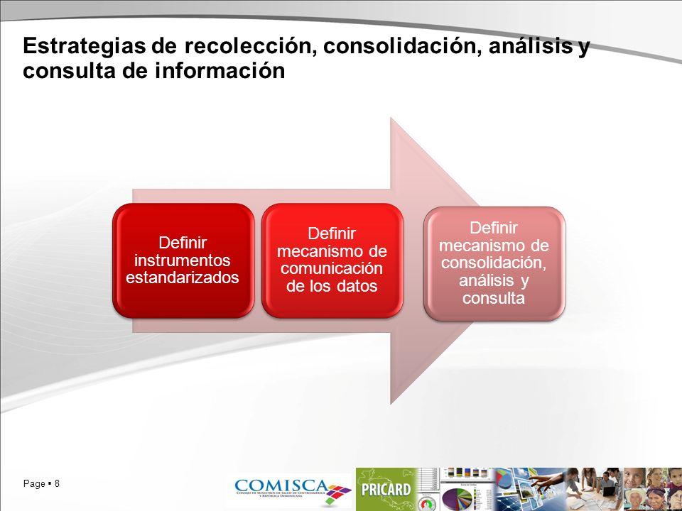 Page 8 Estrategias de recolección, consolidación, análisis y consulta de información Definir instrumentos estandarizados Definir mecanismo de comunica
