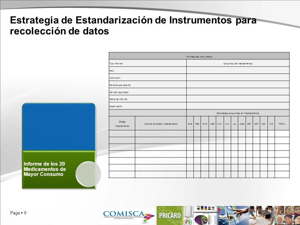 Page 9 Estrategia de Estandarización de Instrumentos para recolección de datos Informe de los 20 Medicamentos de Mayor Consumo Formato del Instrumento