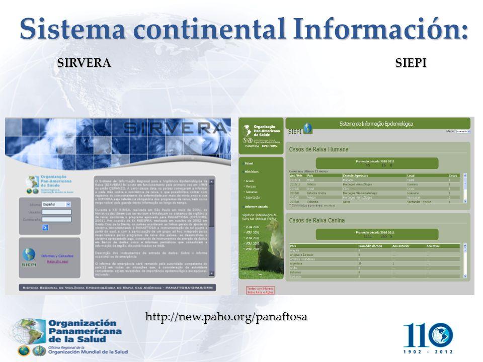 http://new.paho.org/panaftosa Sistema continental Información: SIRVERA SIEPI