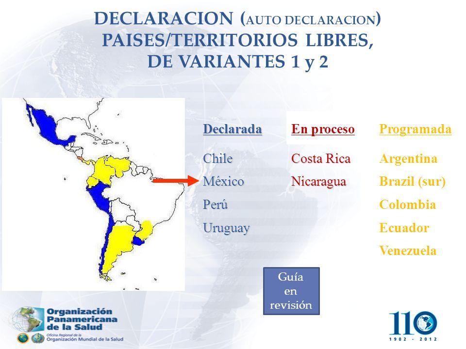 DECLARACION ( AUTO DECLARACION ) PAISES/TERRITORIOS LIBRES, DE VARIANTES 1 y 2 DeclaradaEn procesoProgramada ChileMéxicoPerúUruguay Costa Rica Nicarag