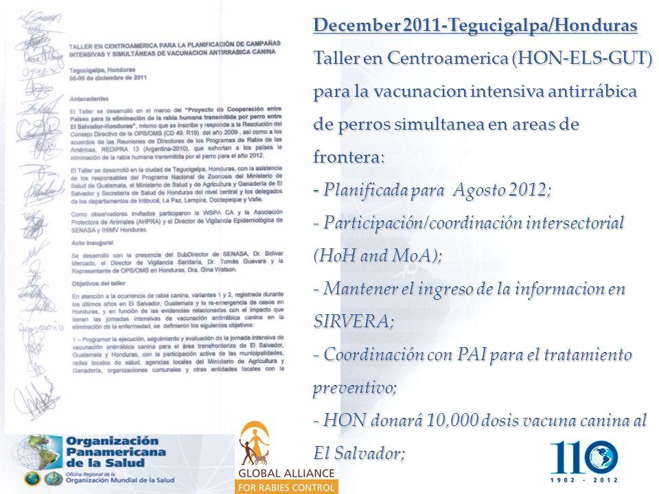 December 2011-Tegucigalpa/Honduras Taller en Centroamerica (HON-ELS-GUT) para la vacunacion intensiva antirrábica de perros simultanea en areas de fro