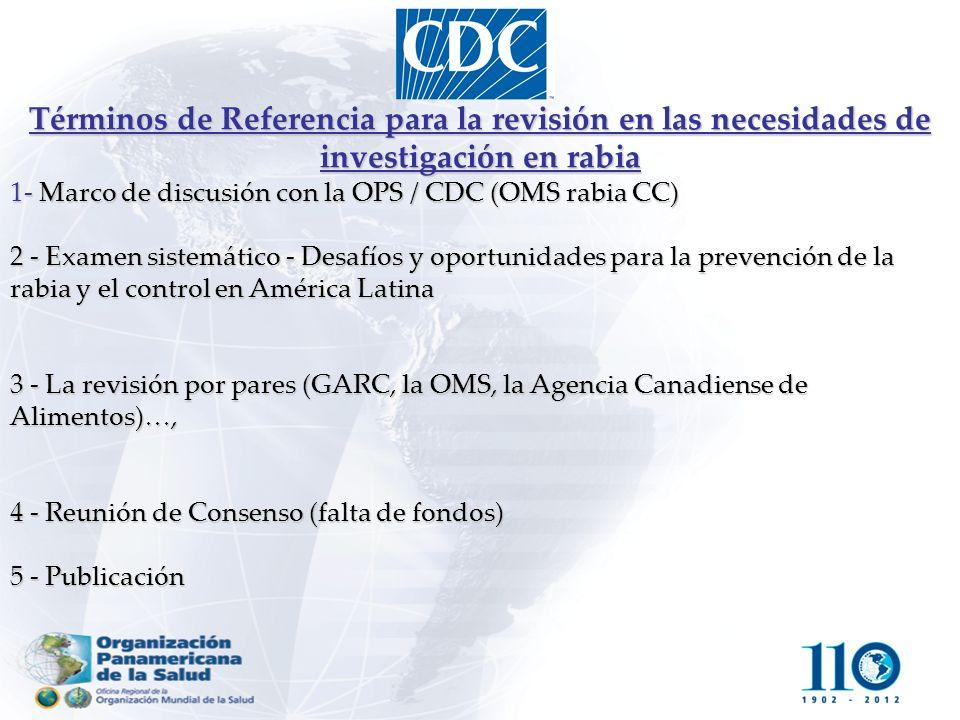 Términos de Referencia para la revisión en las necesidades de investigación en rabia 1- Marco de discusión con la OPS / CDC (OMS rabia CC) 2 - Examen