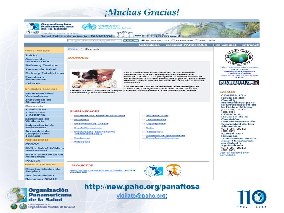 ¡Muchas Gracias! http: // new.paho.org / panaftosa vigilato@paho.org; vigilato@paho.org