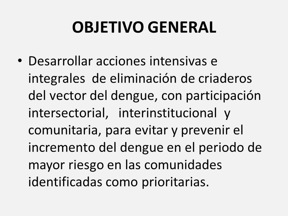 OBJETIVO GENERAL Desarrollar acciones intensivas e integrales de eliminación de criaderos del vector del dengue, con participación intersectorial, int